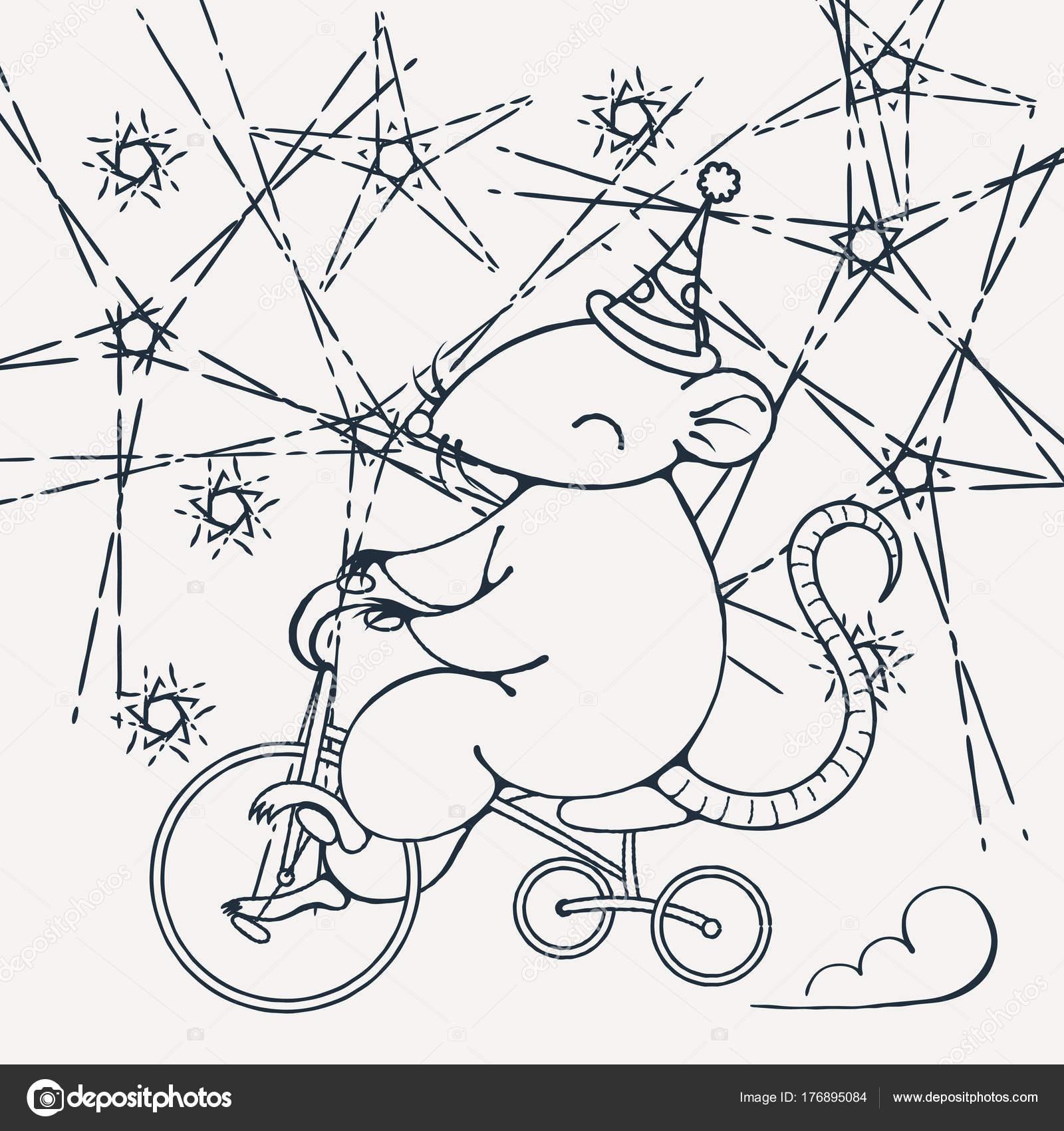 Resimde Bir Sirk Faresi Bir Bisiklet Ile Boyama Sayfası
