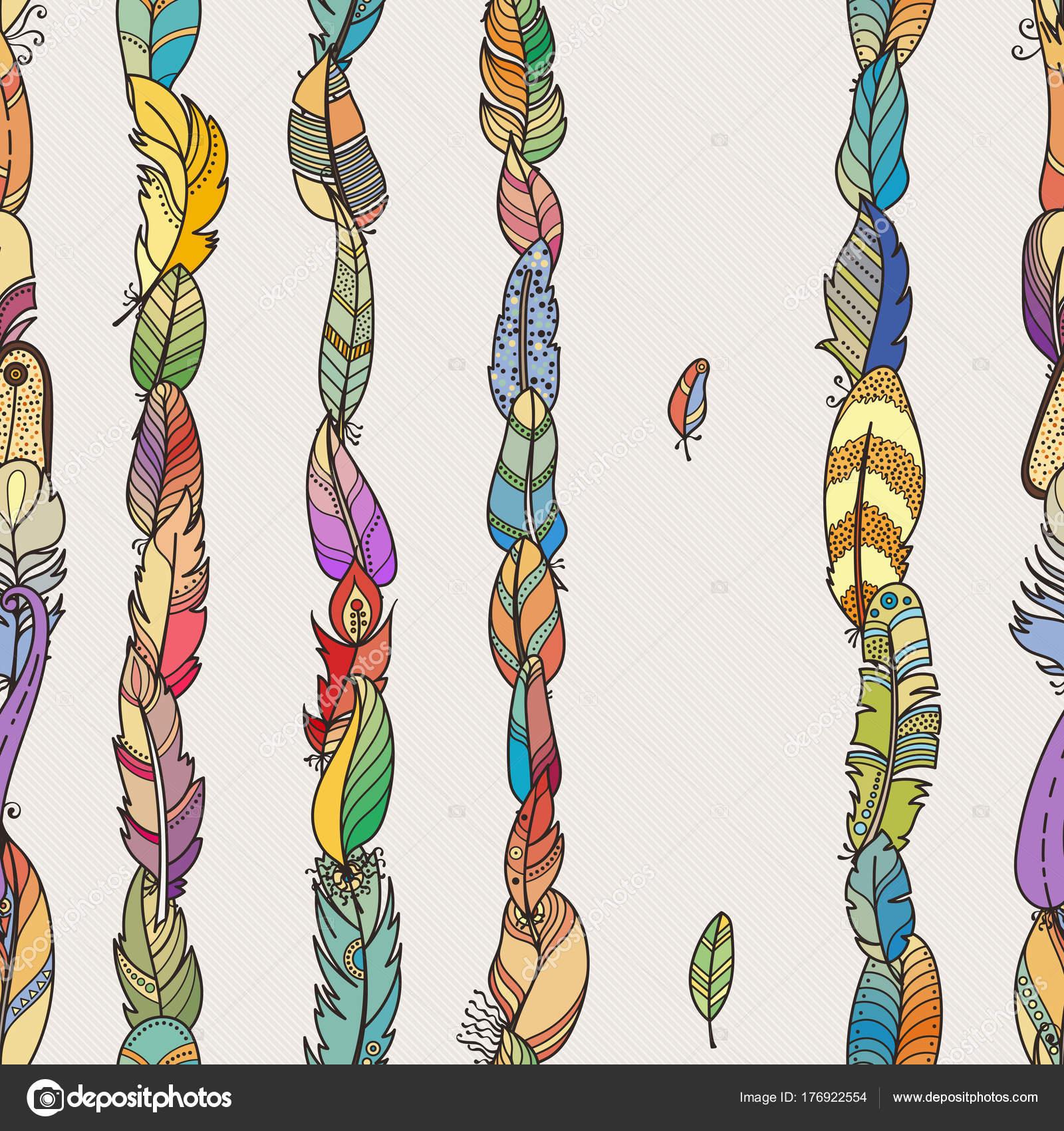 Patrón transparente con plumas de fantasía al azar. Para fondo de ...
