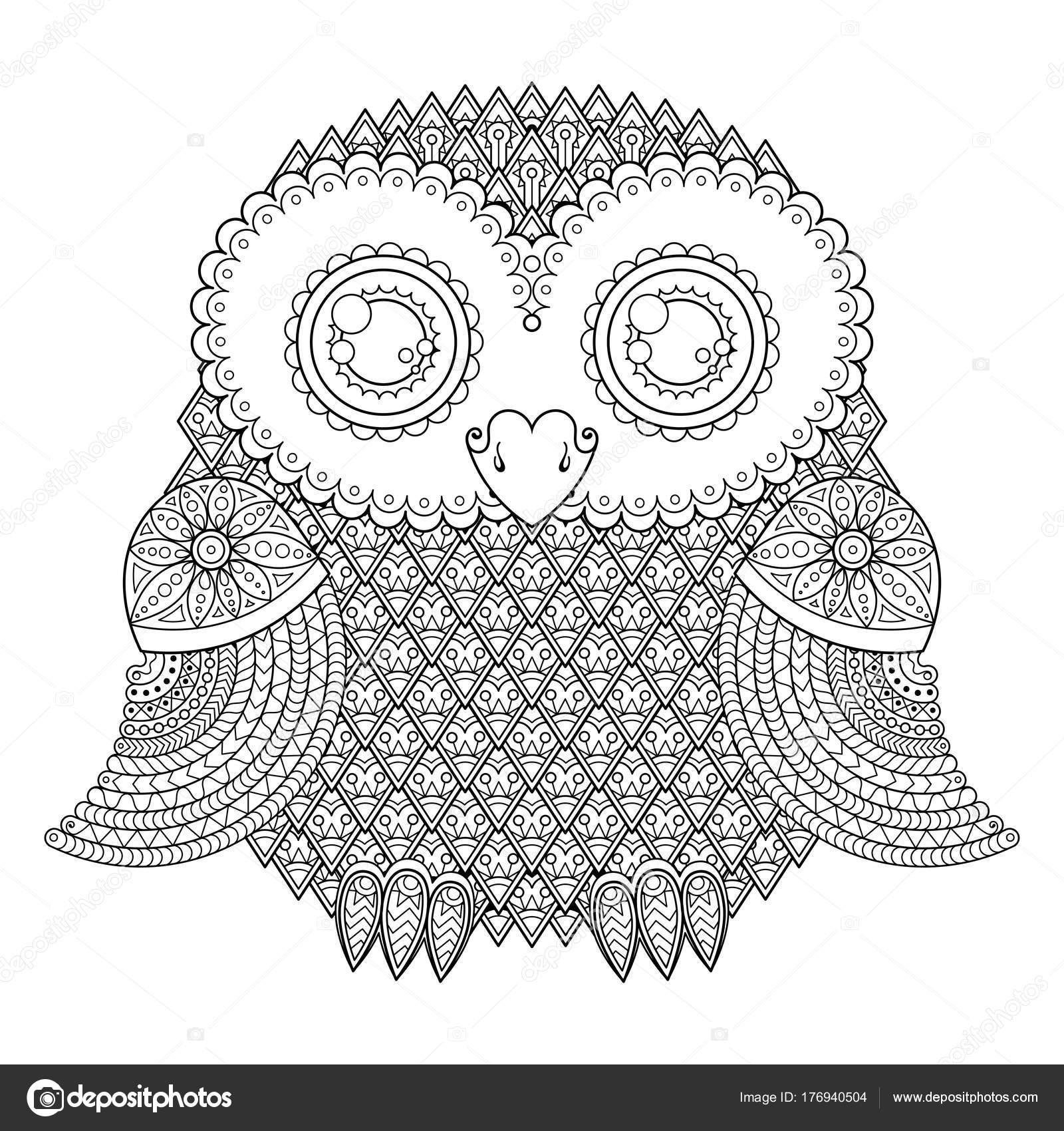 Süße Eule Abbildung. Kunstvoll gemusterten Vogel. Bild zum Ausmalen ...