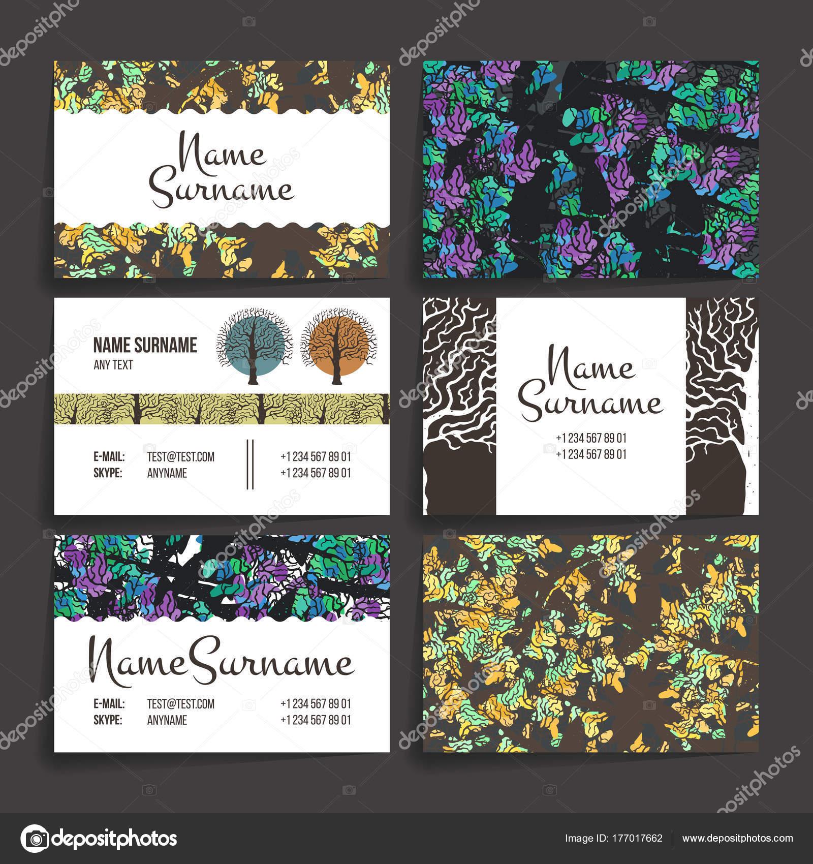 Brochures En Style Colore Au Hasard Vintage Frames Et Arriere Plans Carte De Visite Avec Arbre A Main Dessiner Hipster Vecteur