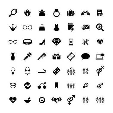 Set of 49 Universal Icons. Business, internet, web design.