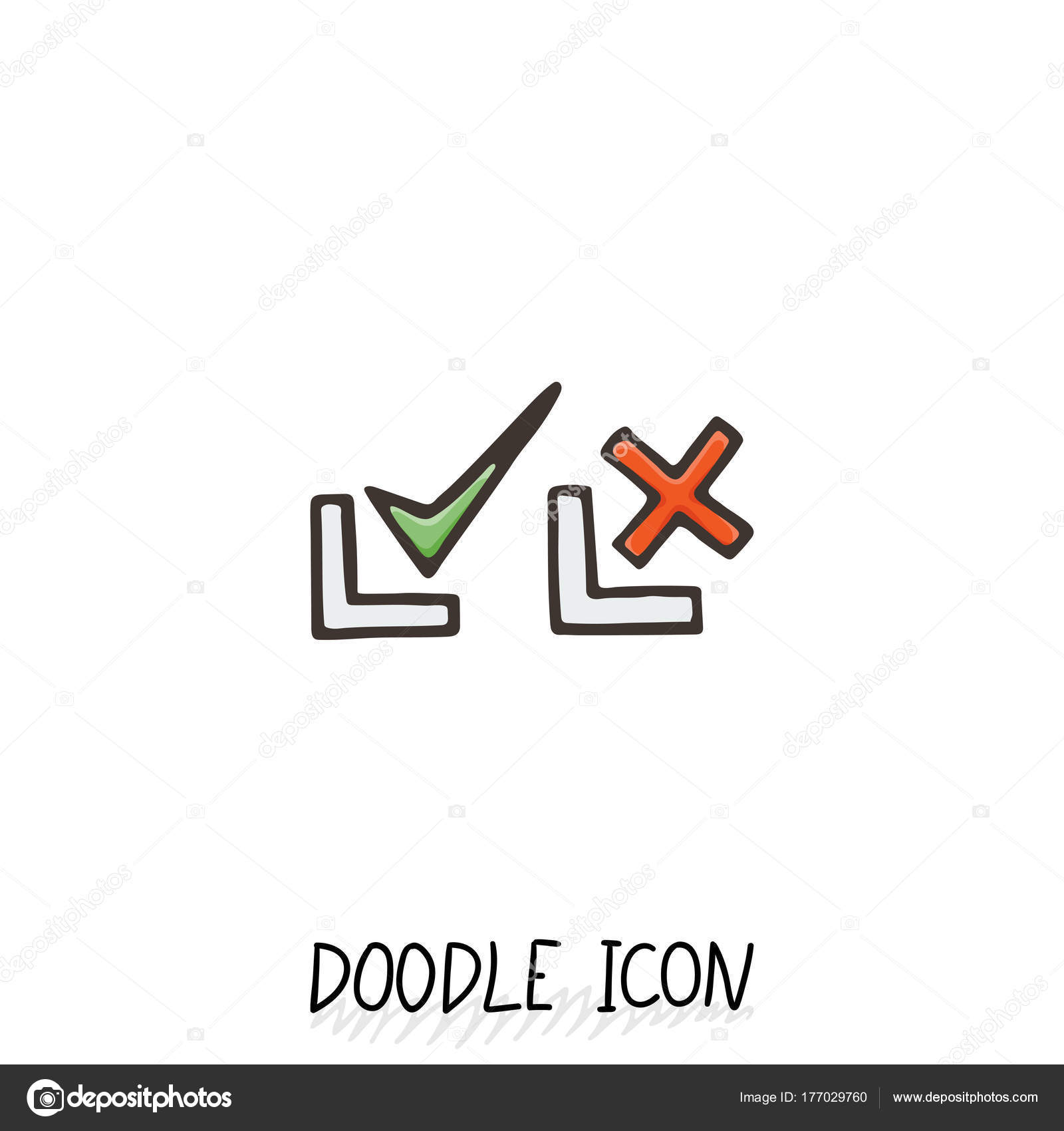 Doodle check mark icons symbols for yes and no stock vector symbols for yes and no set of pictogram vector by drekhann buycottarizona Gallery