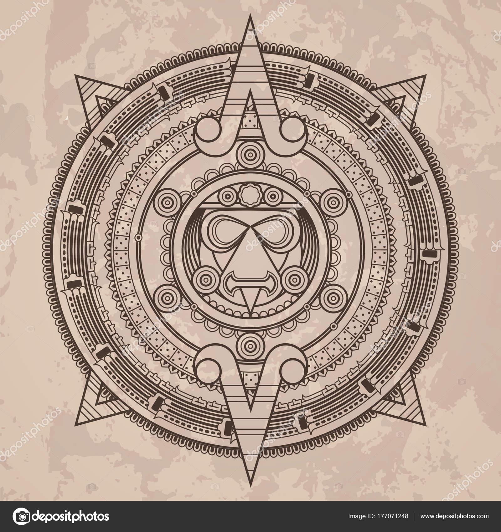 vector calendario azteca patr 243 n circular vector en el