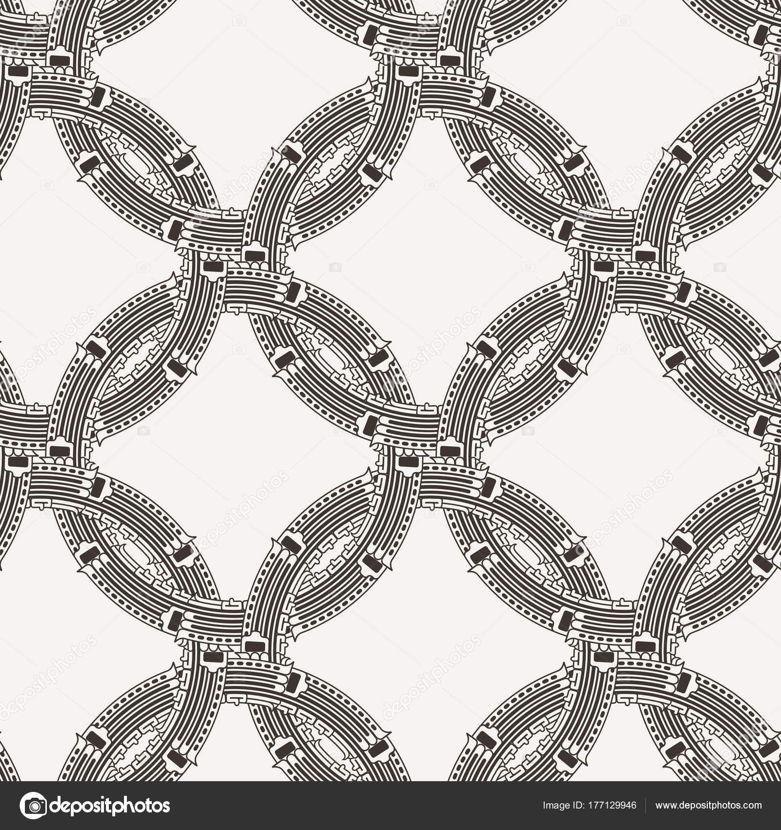 Patrón transparente de vector de círculos entrelazados adornados ...