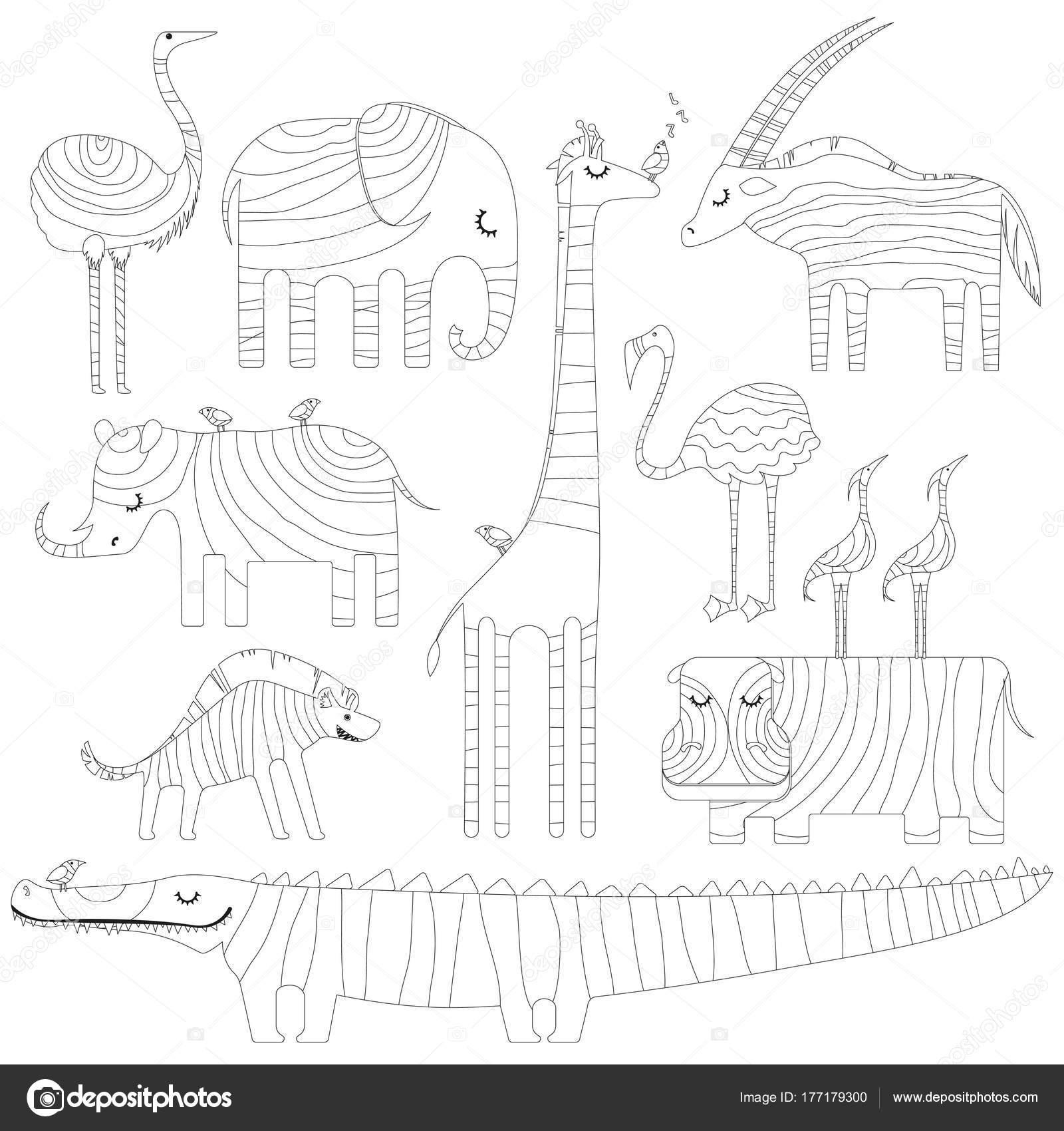 Algunos animales africanos en dreamtime. Imagen para colorear o ...