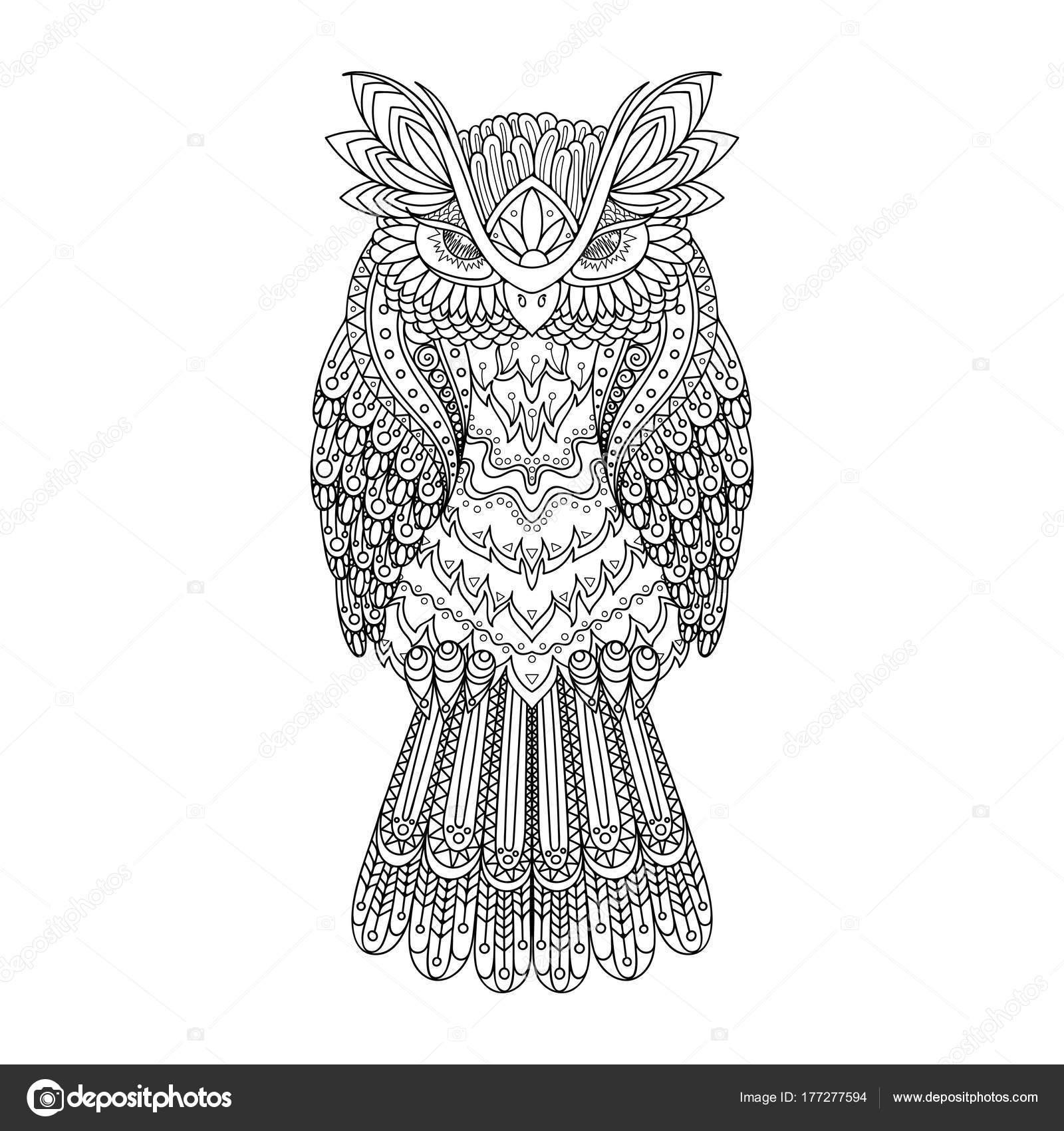 vektor zentangle eule illustration ornamental gemusterter