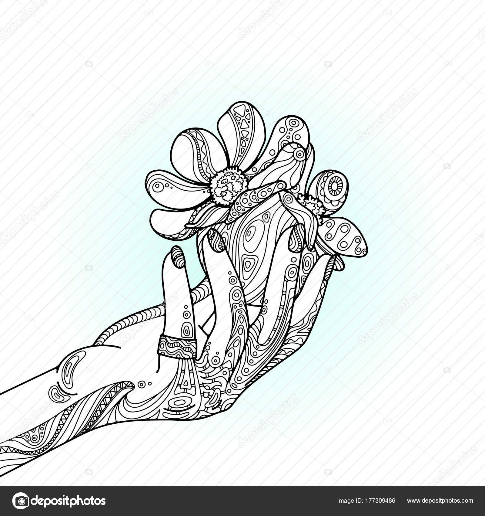 Mano de mujer belleza zentangle con anillo, clavos, bolas y flores ...