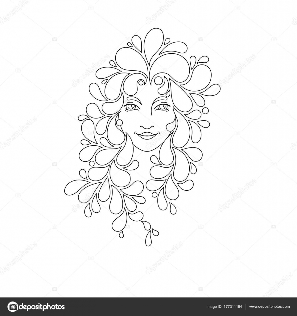 Print for the coloring book. Portrait of a beautiful girl with ...