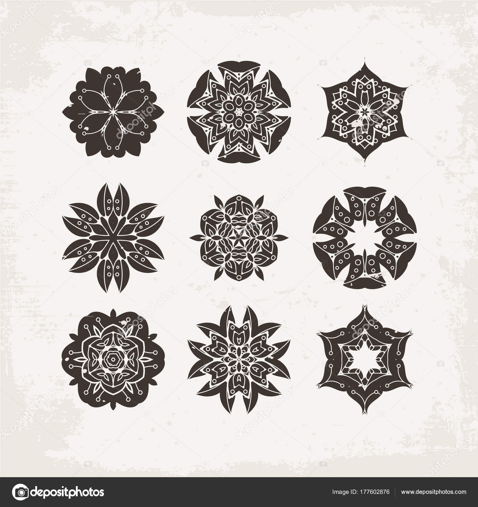 Set Of Ornate Vector Mandala Symbols Mehndi Lace Tattoo
