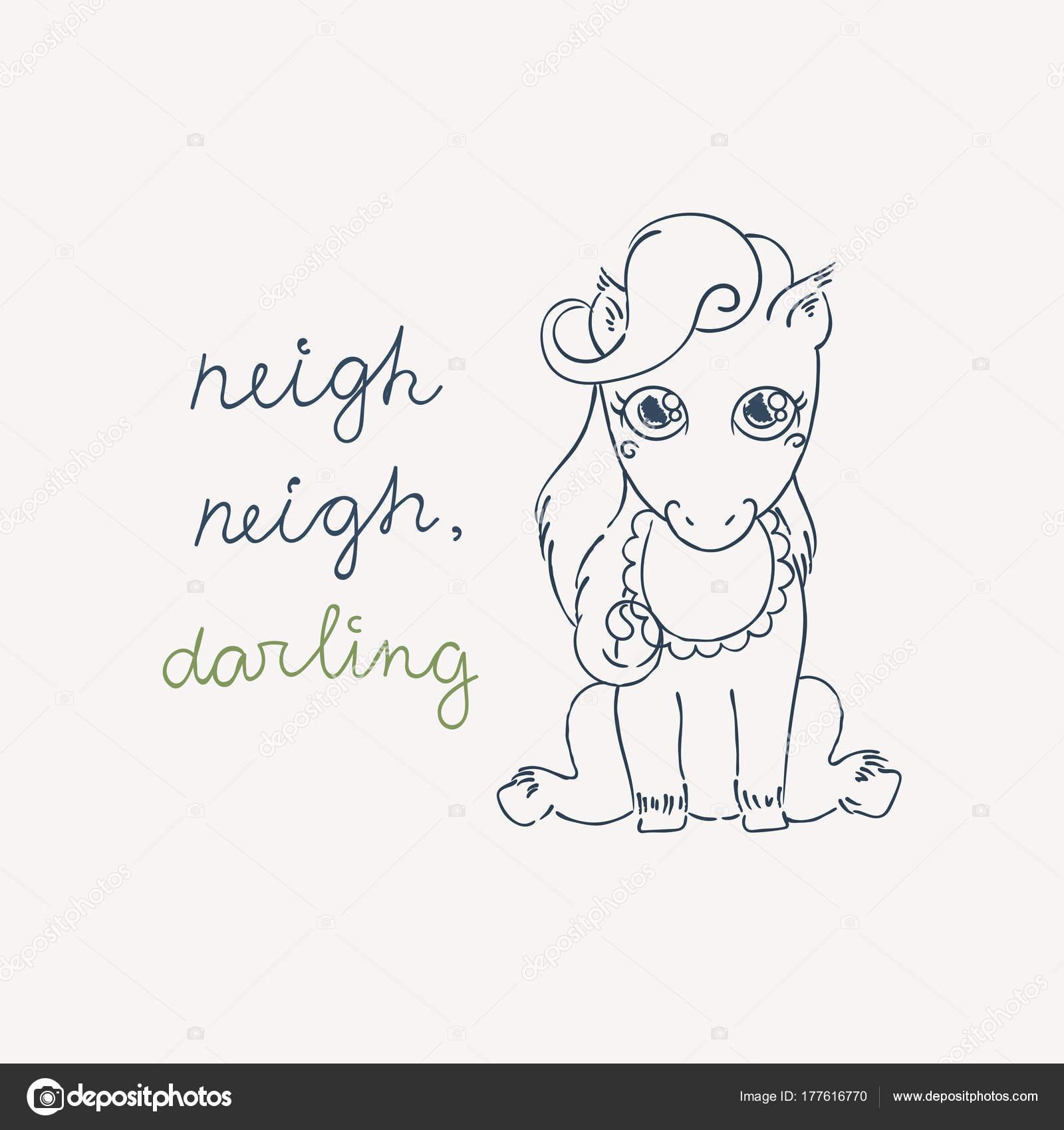 Pequeño pony lindo en un babero. Caballo de bebé estilo doodle ...