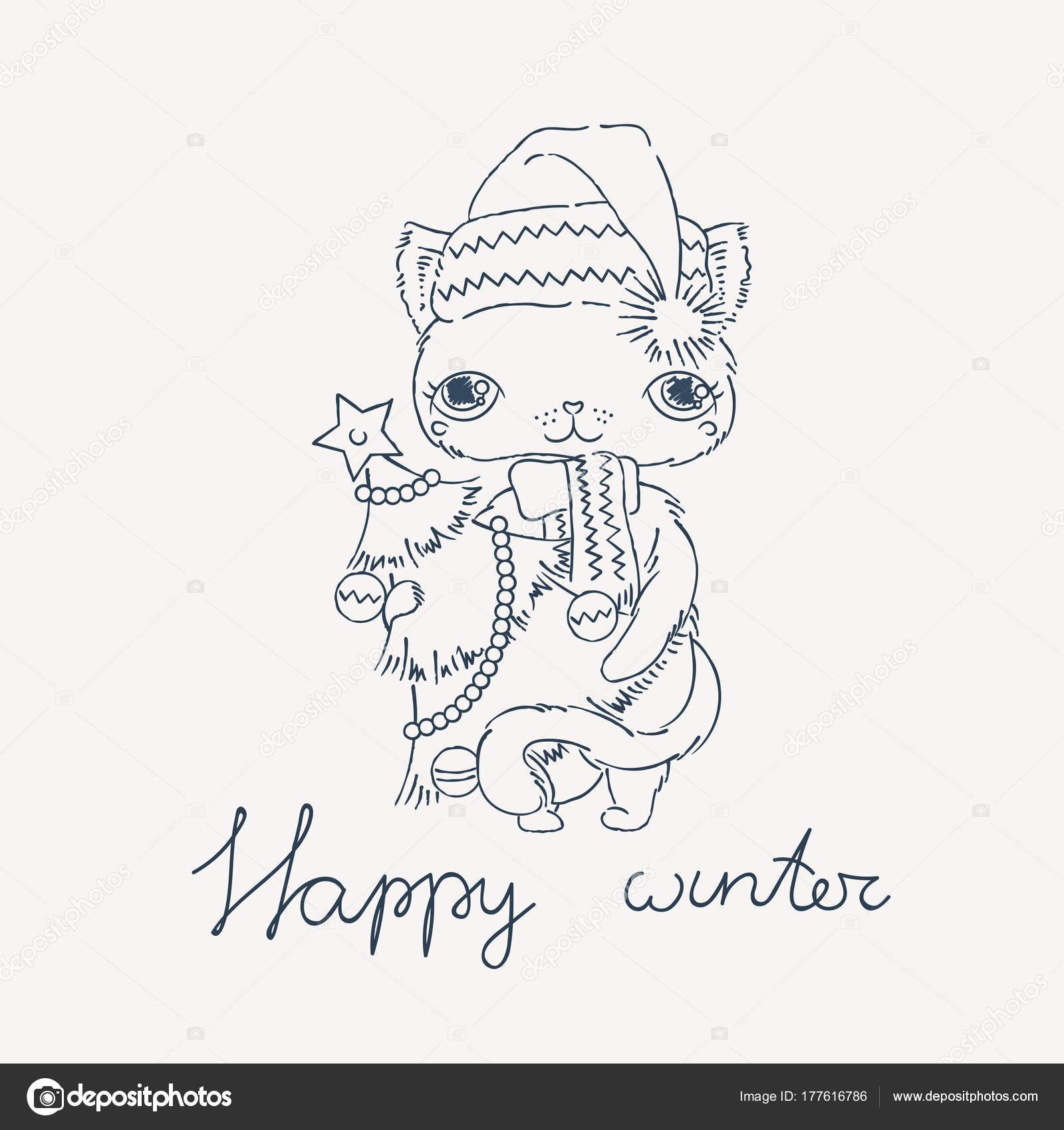 Süße Katze in eine warme Mütze mit Neujahr Baum. Malvorlagen oder ...