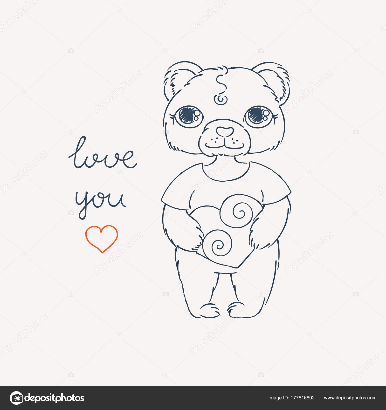Teddy Bär und Herz. Karte zum Valentinstag. Färbung oder print-Bild ...