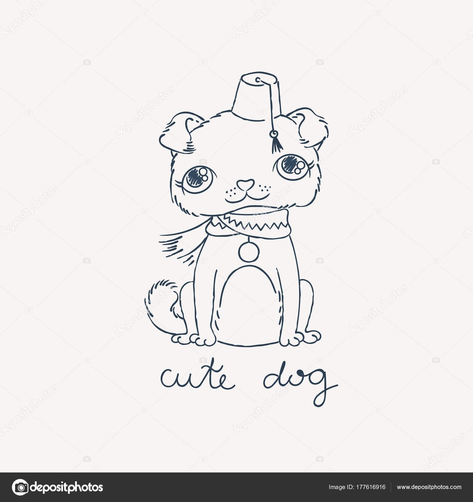 Pug cachorro en fez con una borla. Libros para colorear o imprimir ...