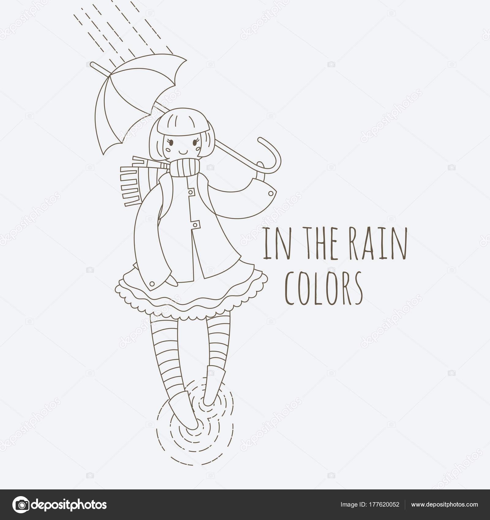 Junges Mädchen in gestreiften Strümpfen zu Fuß in den Regen mit ...