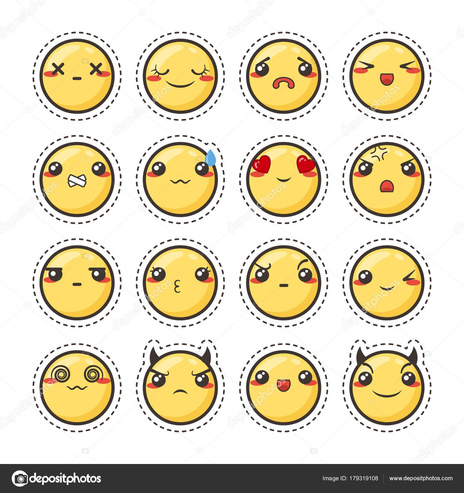 キュートかわいいカワイイ顔文字のセットです。ステッカー コレクション