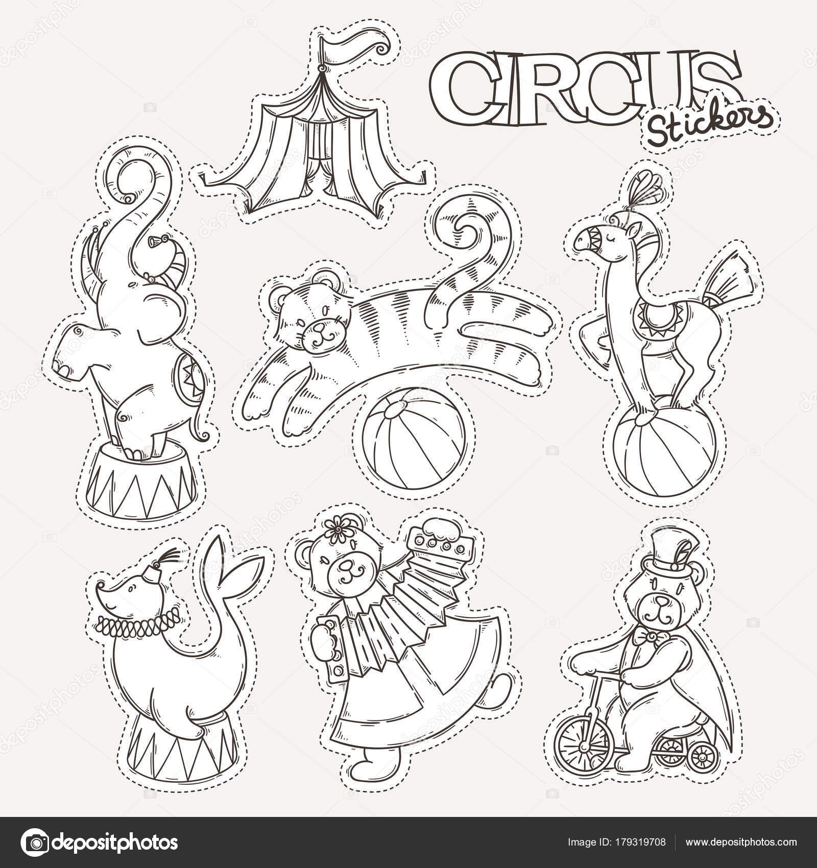 Colección de iconos circo con carpa Carpa y animales salvajes ...