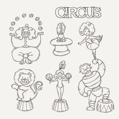 Circus cartoon icons collection with chapiteau tent and trained wild animals. Vector doodle illustration set stock vector