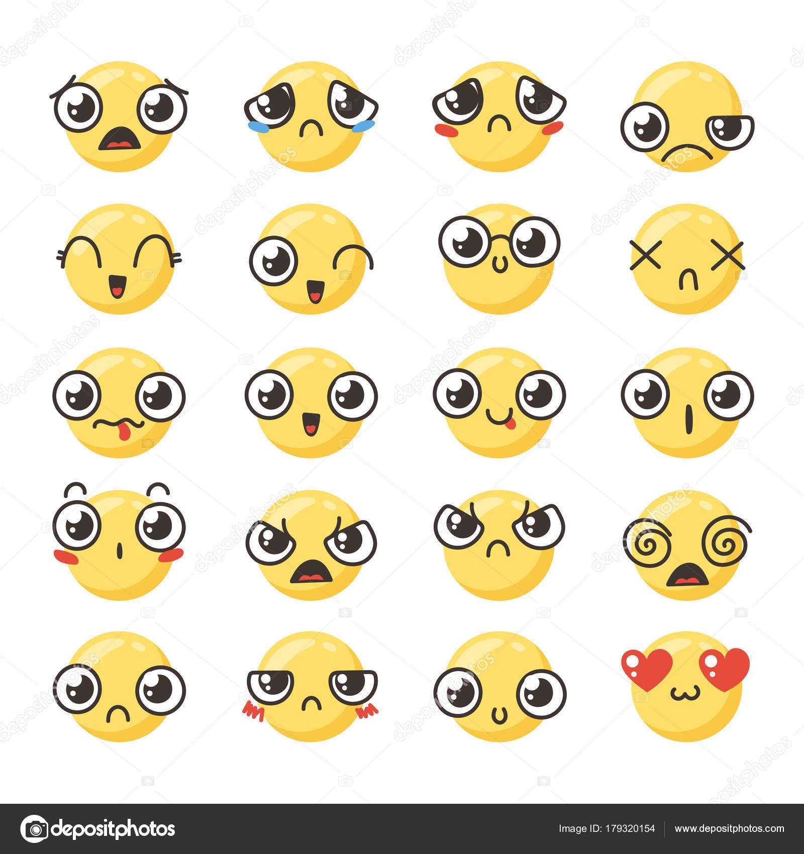 キュートかわいいカワイイ絵文字のセット — ストックベクター © drekhann