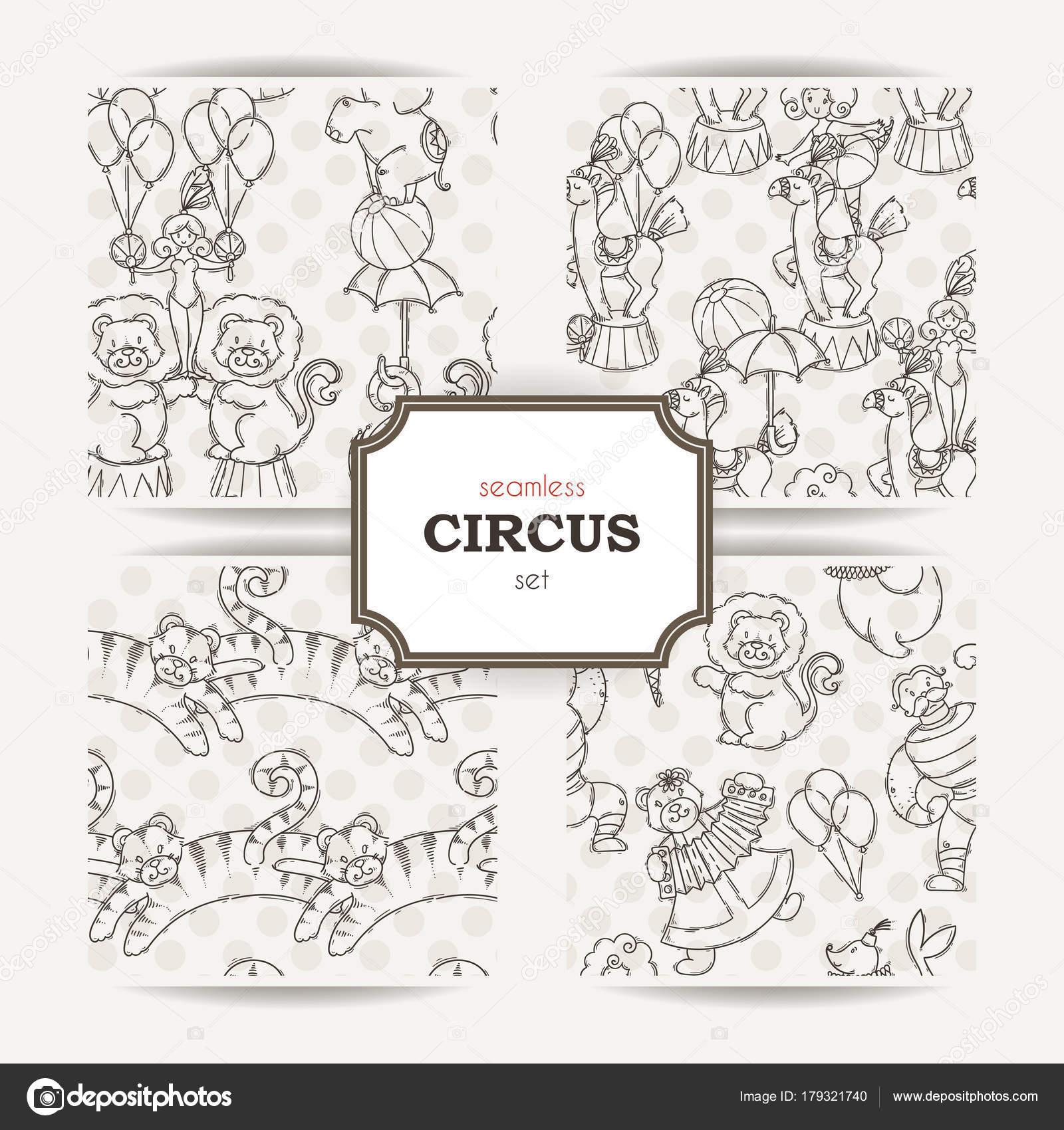 Conjunto de patrones sin fisuras doodle con animales de circo y ...