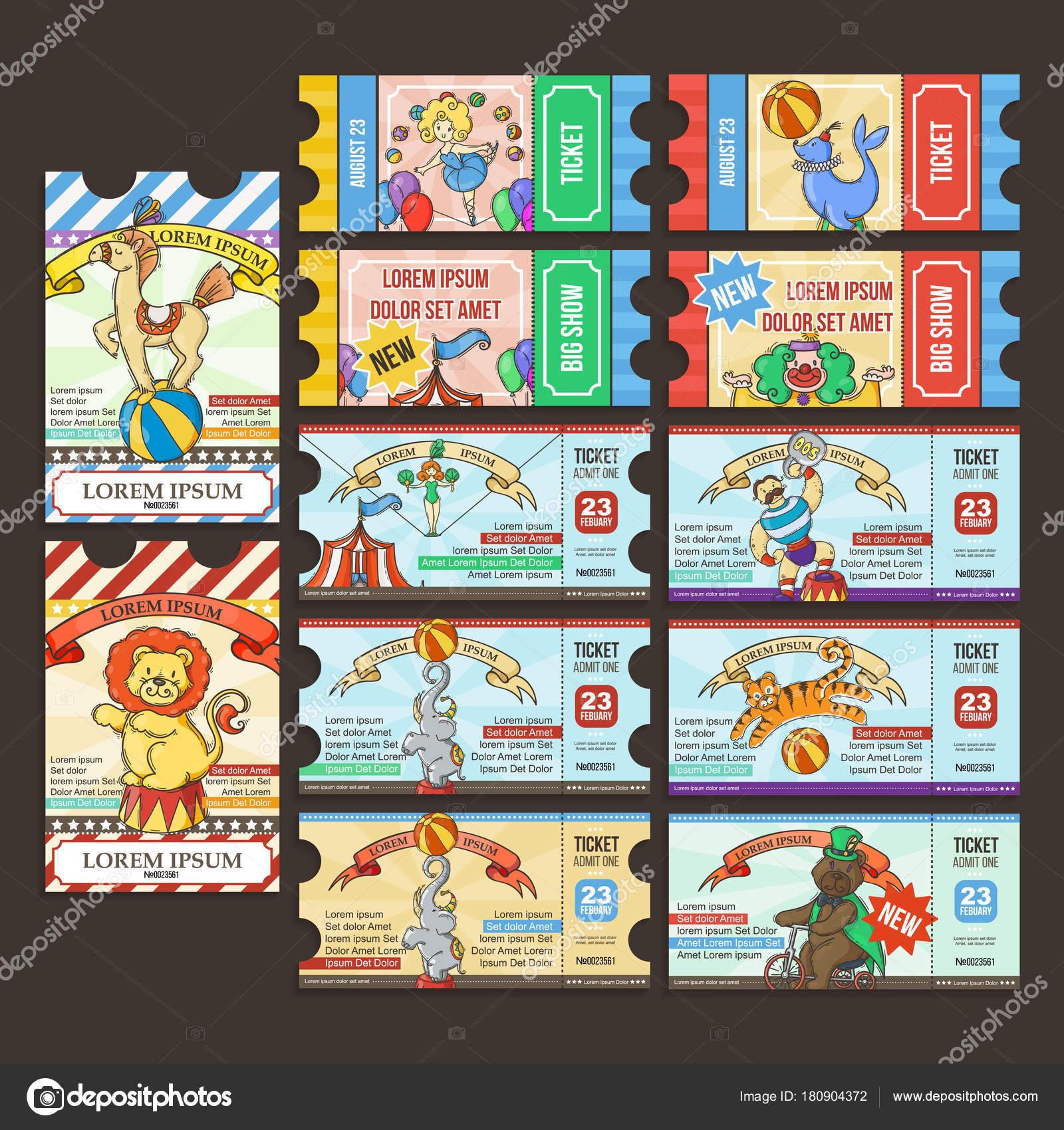 Circus Ticket pass  Doodle cartoon  — Stock Vector © Drekhann #180904372