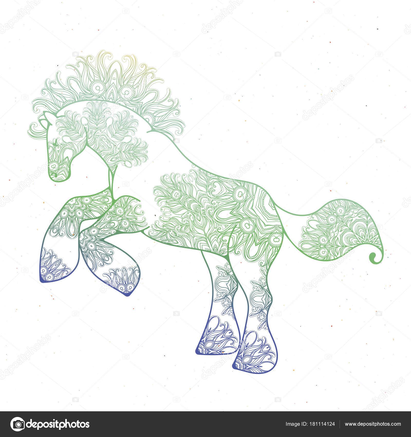 Antistress linearen Seite mit Pferd. Zentangle Tier für Malbuch ...