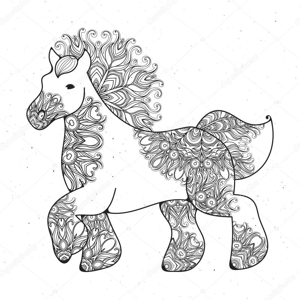 Anti-stress page linéaire avec cheval. Zentangle animal ...