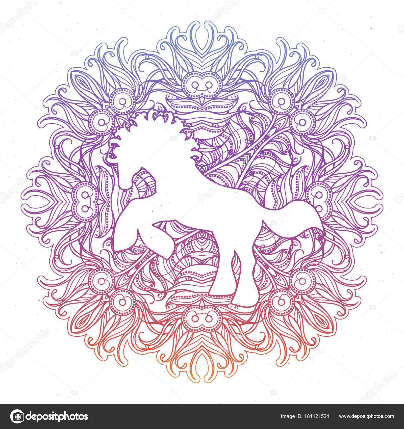 anti stressprogramma lineaire pagina met paard zentangle