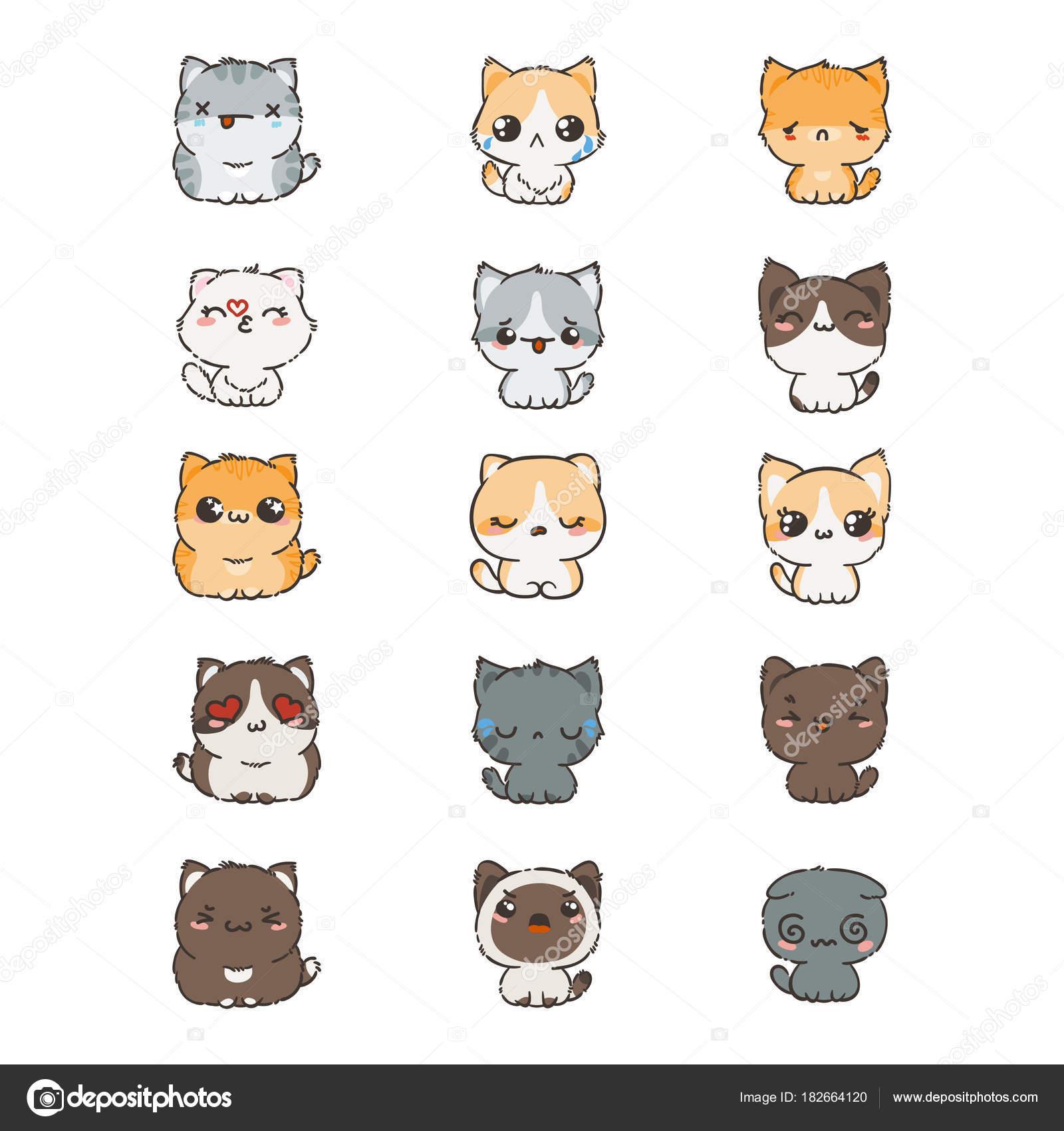 Gatos Y Perros Kawaii Cute Dibujos Animados Gatos Y Perros Con