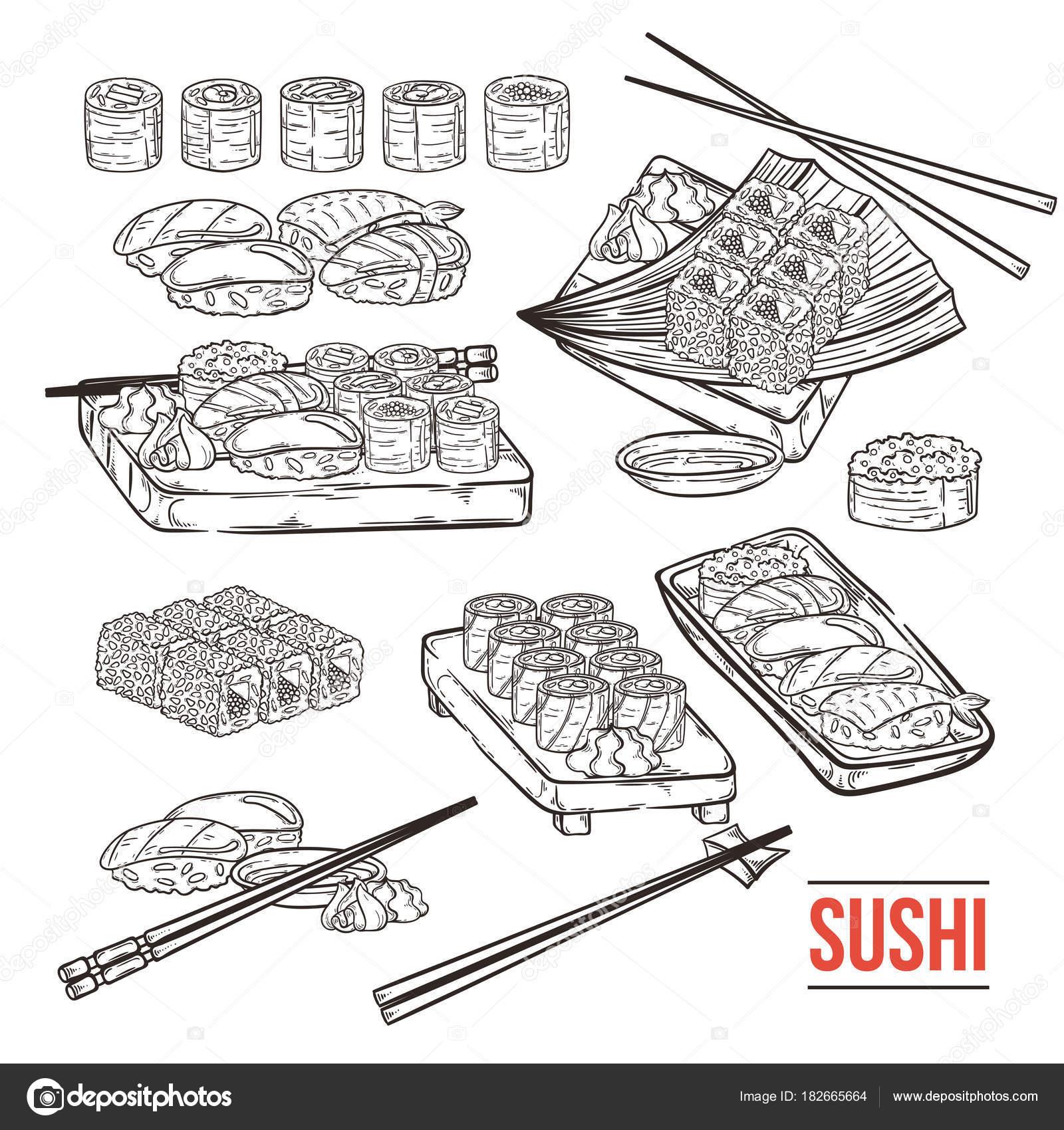 Doodle, Sushi und Rollen auf Holz. Traditionelle japanische Küche ...