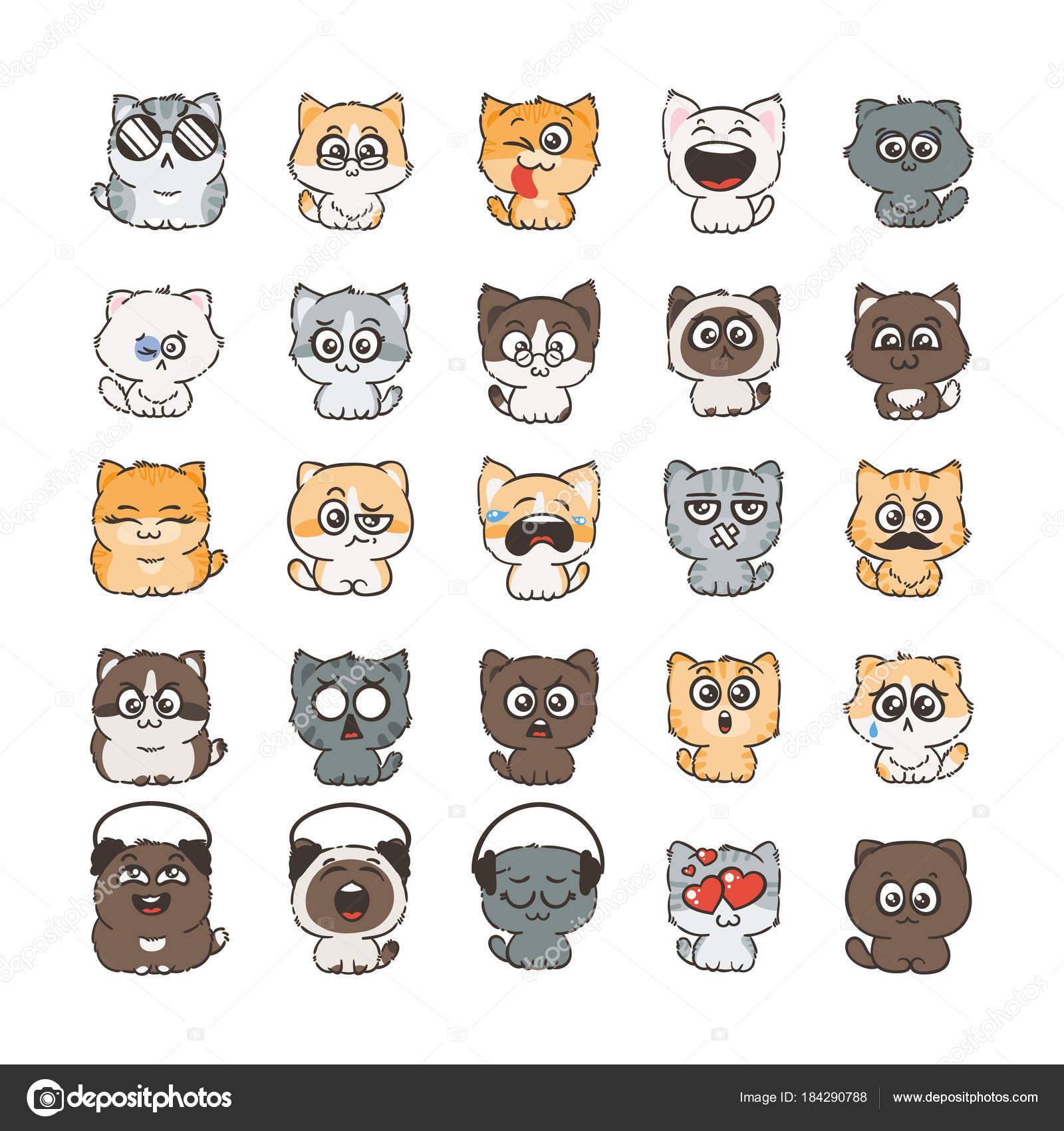 Simpatico cartone animato gatti e cani con differenti