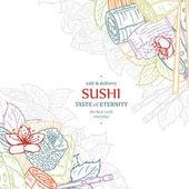 Doodle modello di disegno del menu del ristorante sushi. Incidere il telaio di cibo asiatico