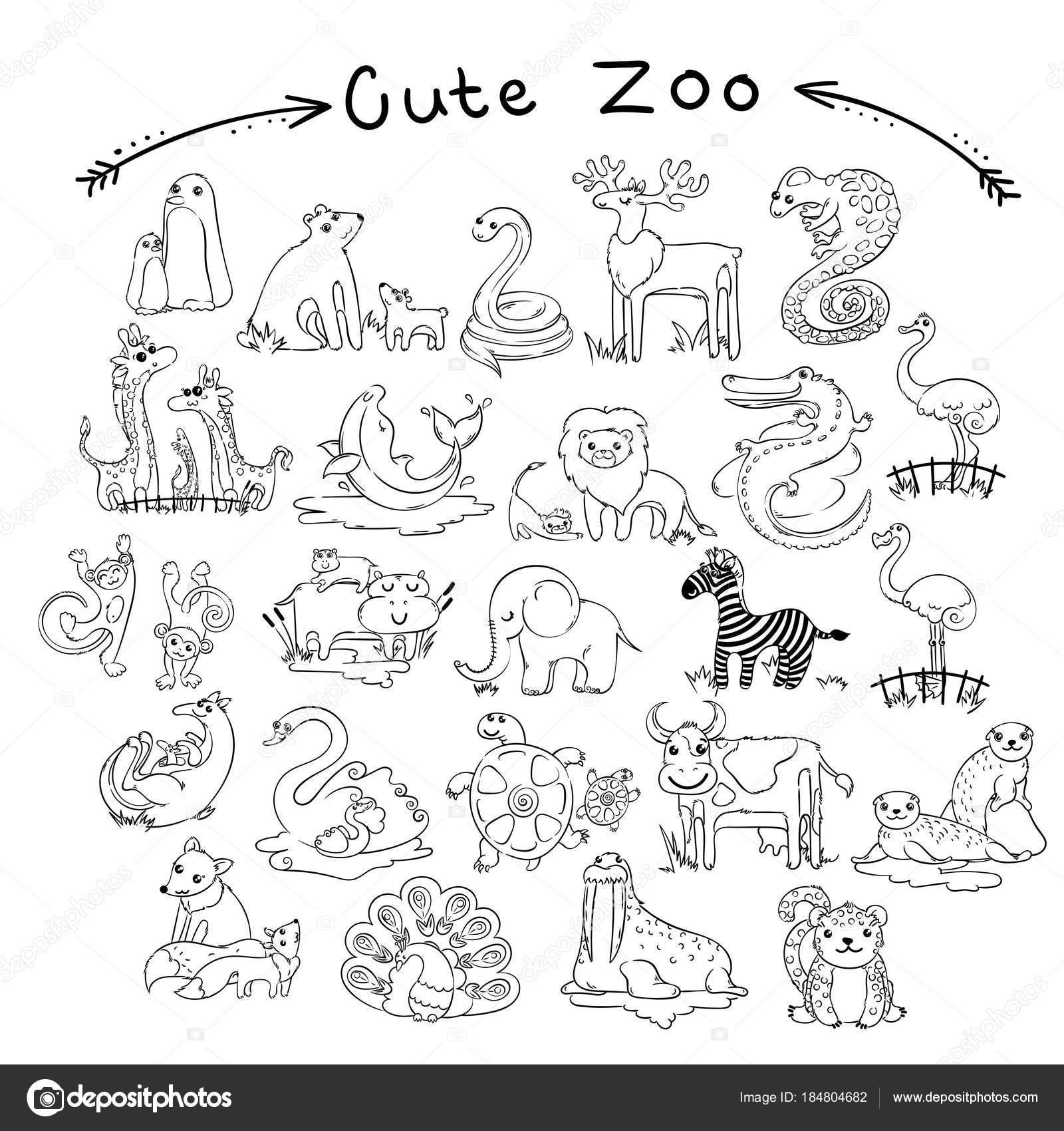 Kleurplaten Dieren Vogels.Verzameling Van Cute Cartoon Doodle Dieren En Vogels Van De Wereld