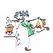 Doodle stickman illustration concept. Cooking woman with tasty food