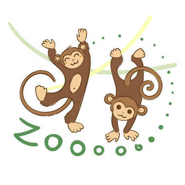 Illustration of doodle cute monkeys, hand drawn graphic