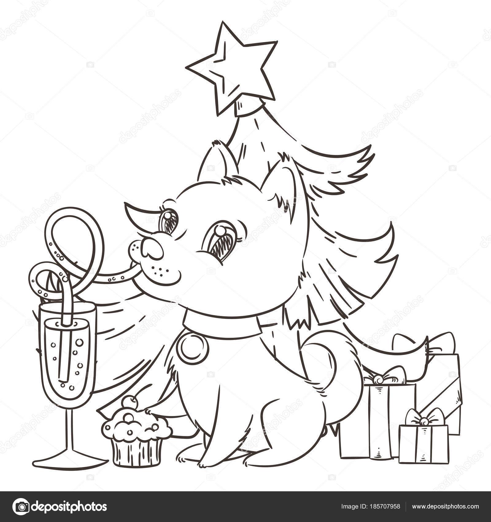 Perro Golden con el champán o limonada y un pastel. Año nuevo ...