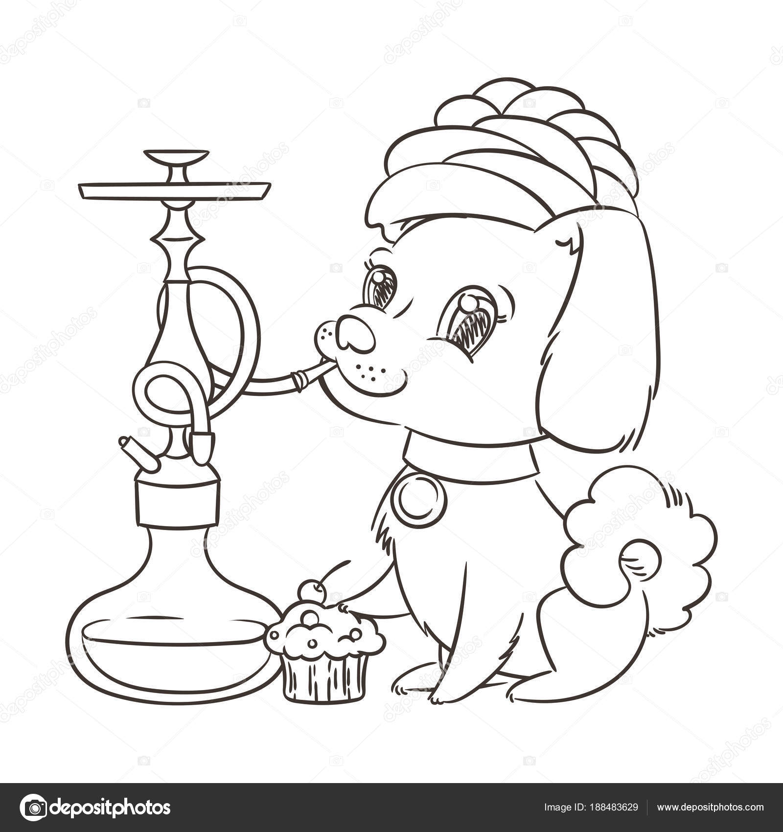 Feliz De Dibujos Animados Oro Perrito Fumar Narguile En Turbante