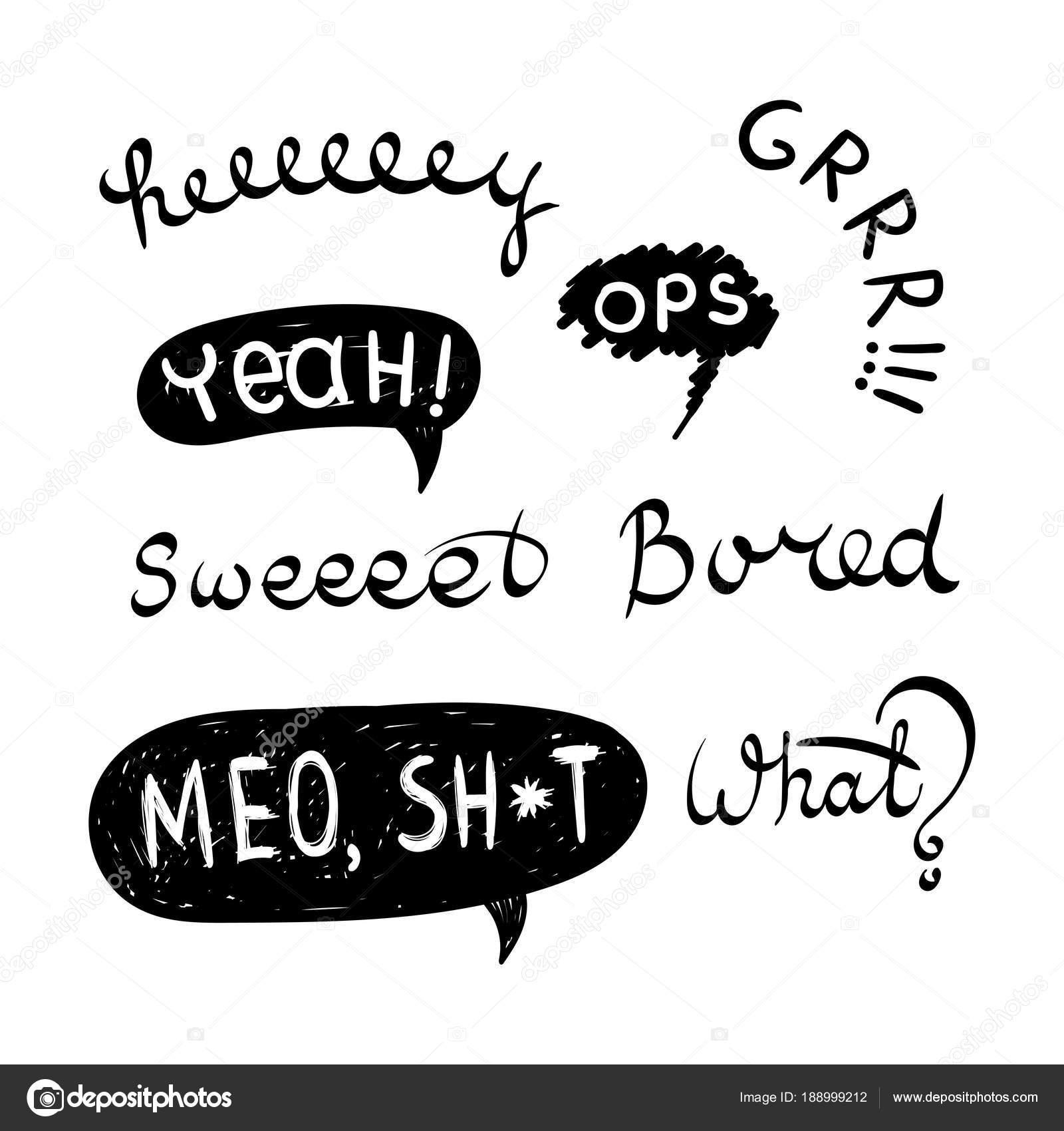 Komiks Dymki I Emocji Słowa Tekst Hej Ops Grrr Tak