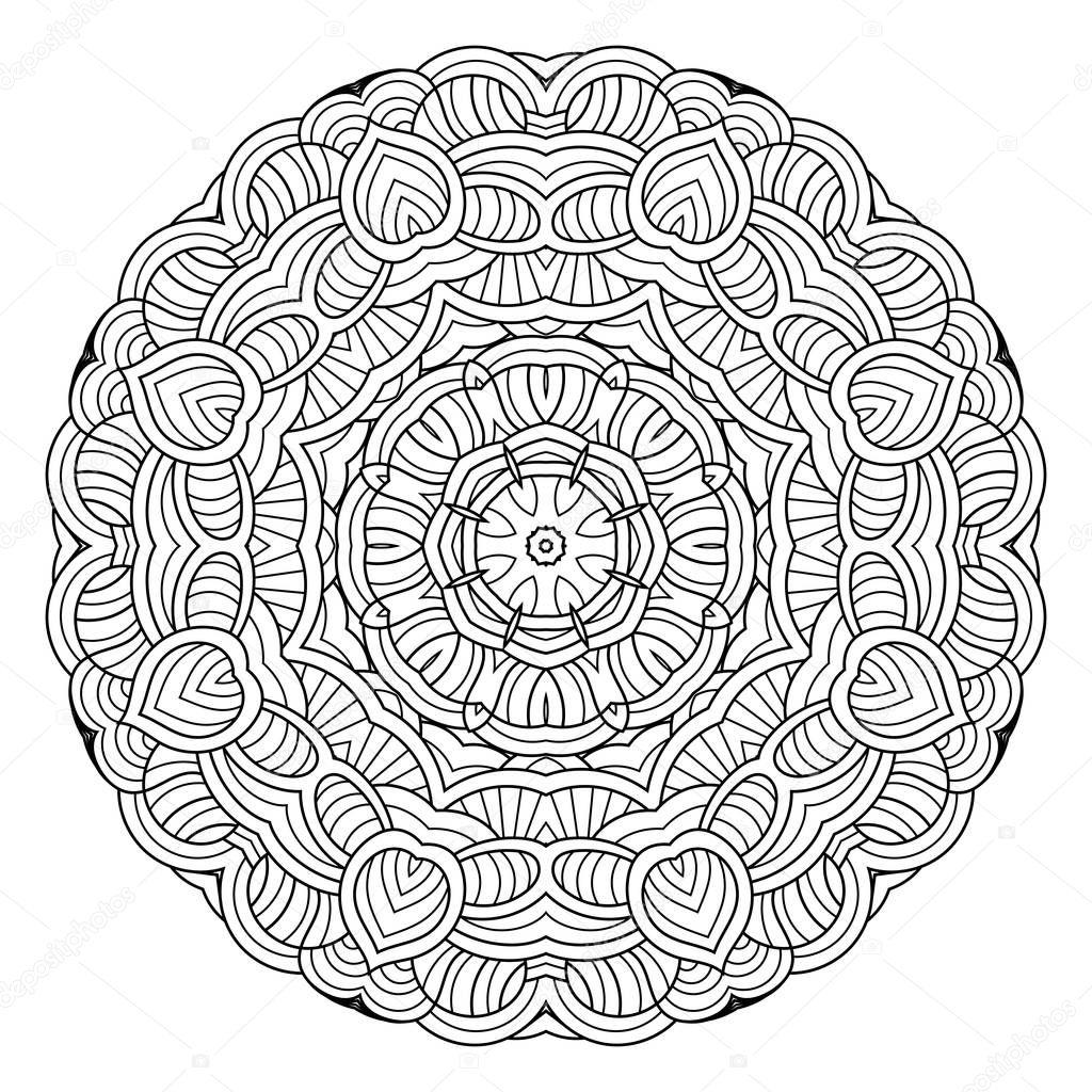 Mandala del fiore di vettore modello di cerchio orientale - Modello di base del fiore ...