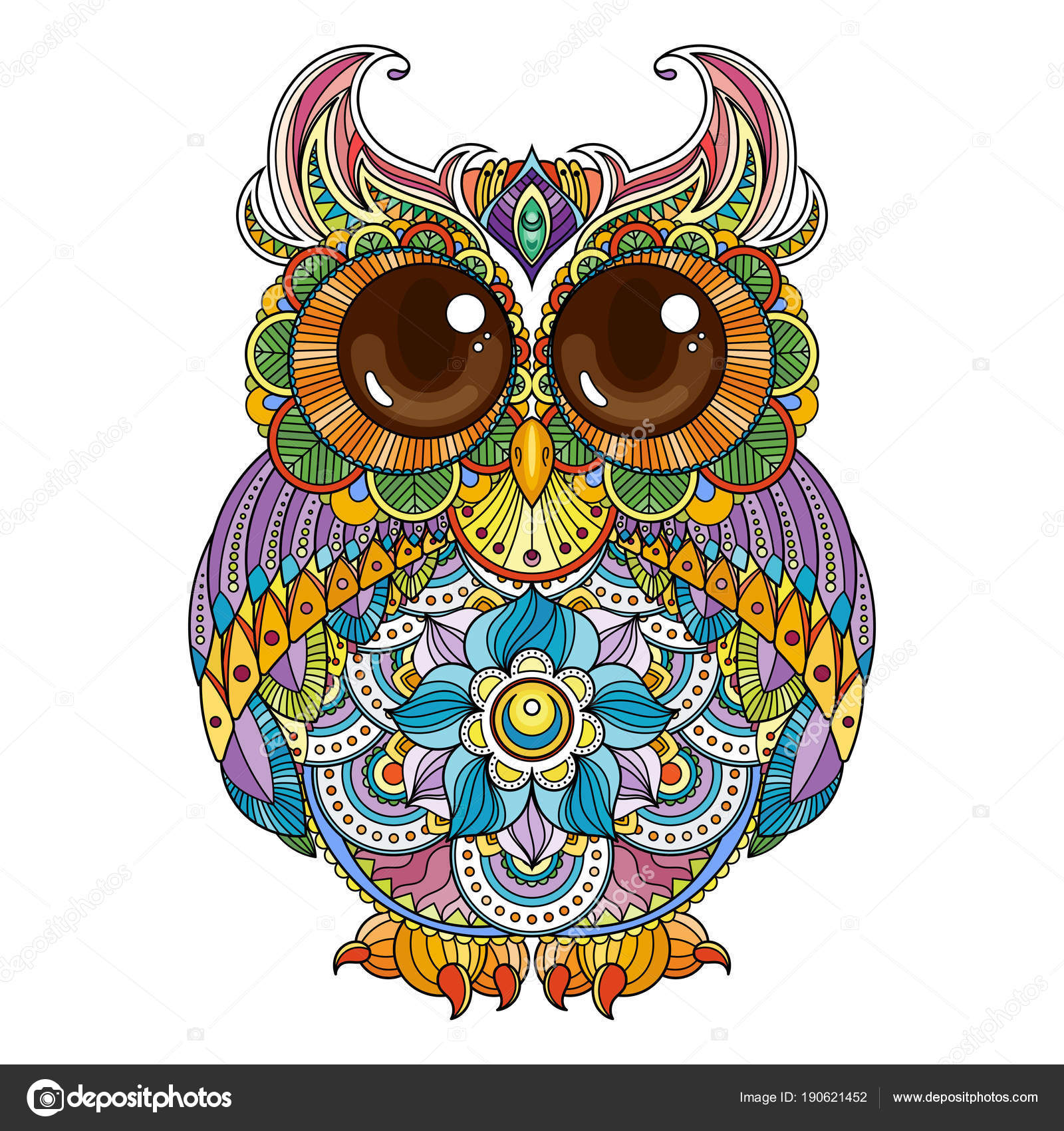 Vector Zendoodle Ornate Owl Illustration Picture For Coloring