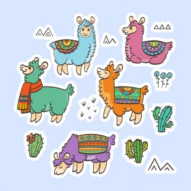 Cute outline llamas. Ink vector illustration. For children and coloring books