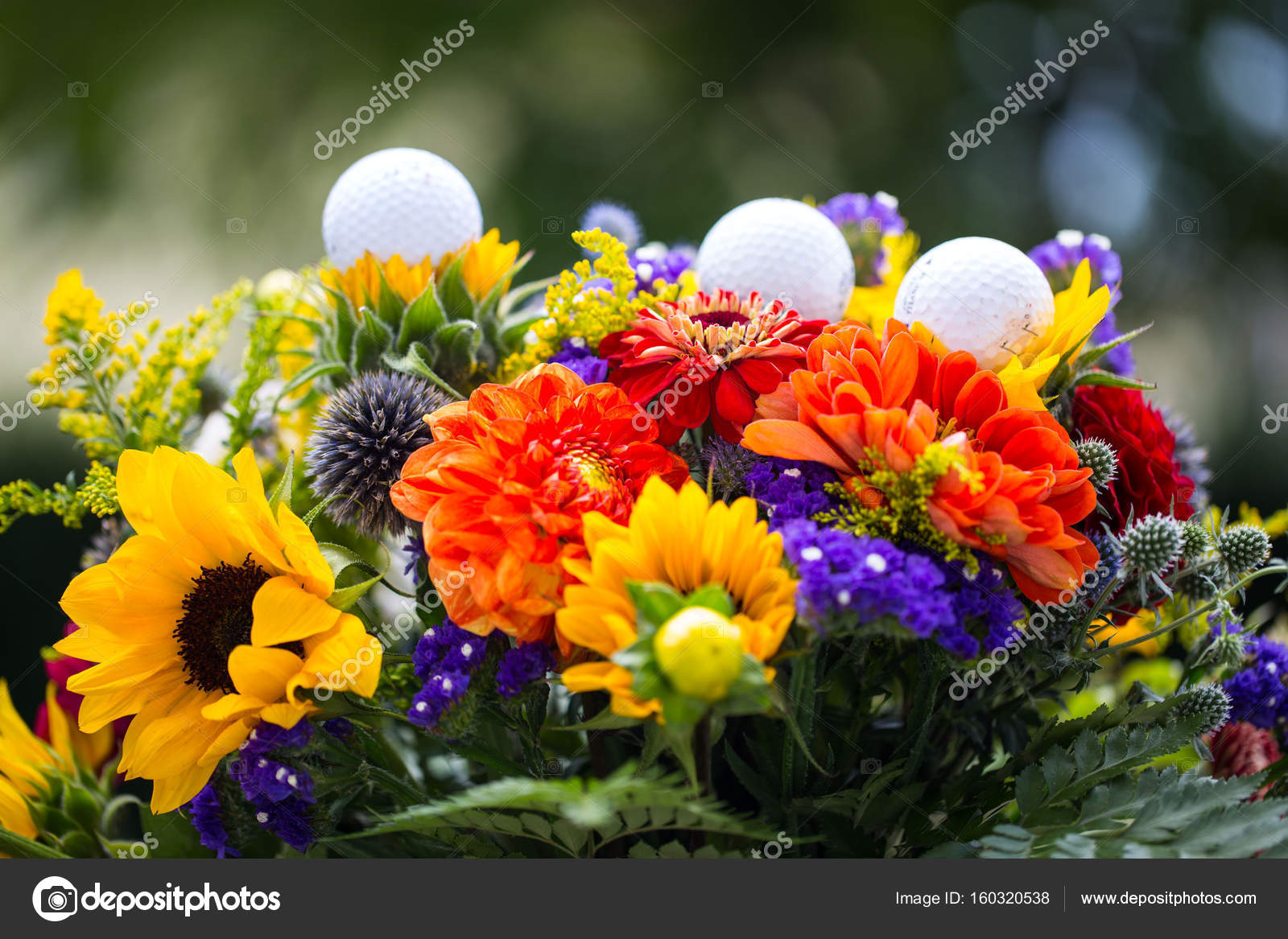 Golf Balls With Flowers For Birthday Card Voucher Stock Photo