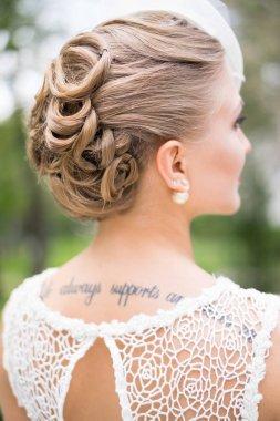 bridal hairstyle, blonde hairs