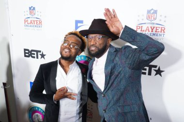 Rickey Smiley and Travis Greene pose for pictures during the 21st Annual Super bowl Gospel Celebration Red Carpet at the James L Knight Center in Miami Florida on Thursday January 30, 2020.  Photo Credit:  Marty Jean-Louis
