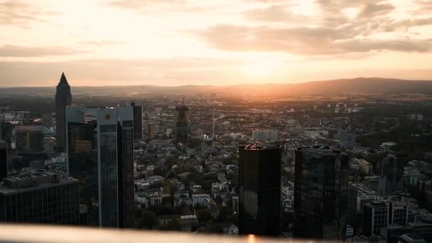 Frankfurt property from a height. Beautiful sunset of the evening city July 31, 2019