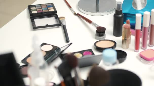 Tools for makeup in a beauty salon