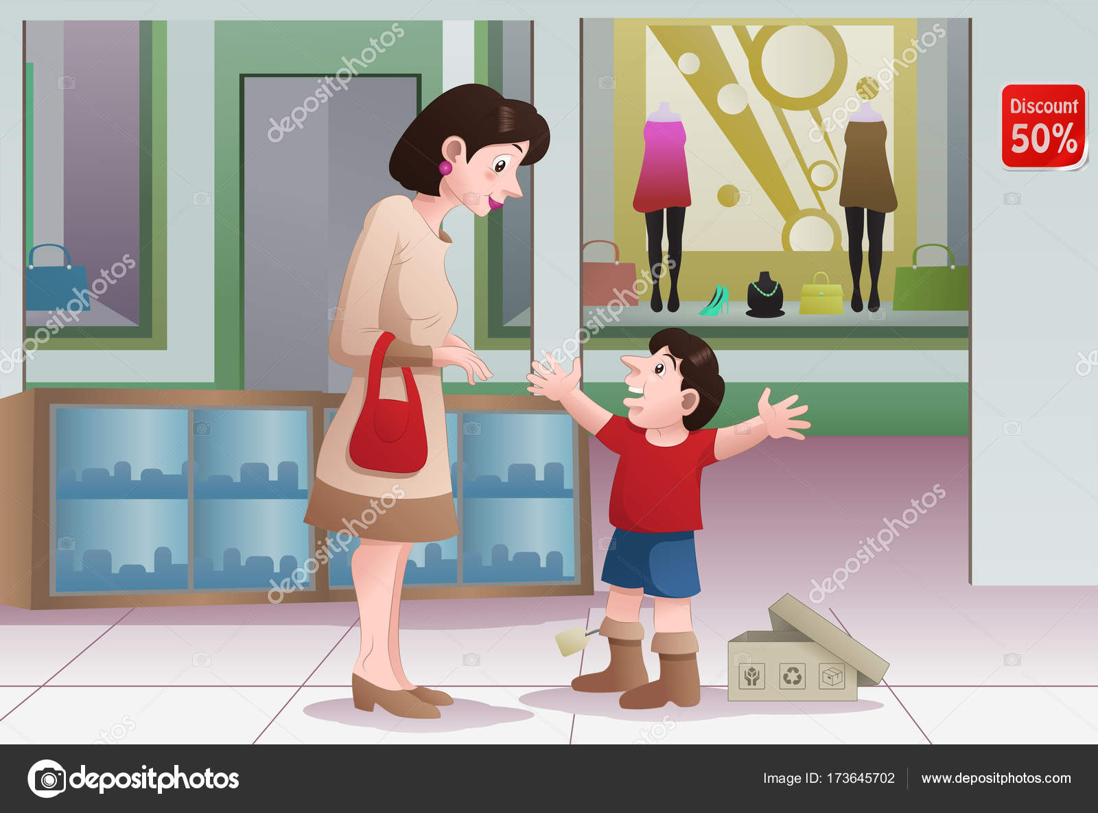 Mom Buying Shoes For Her Boy Stock Photo C Onionime 173645702