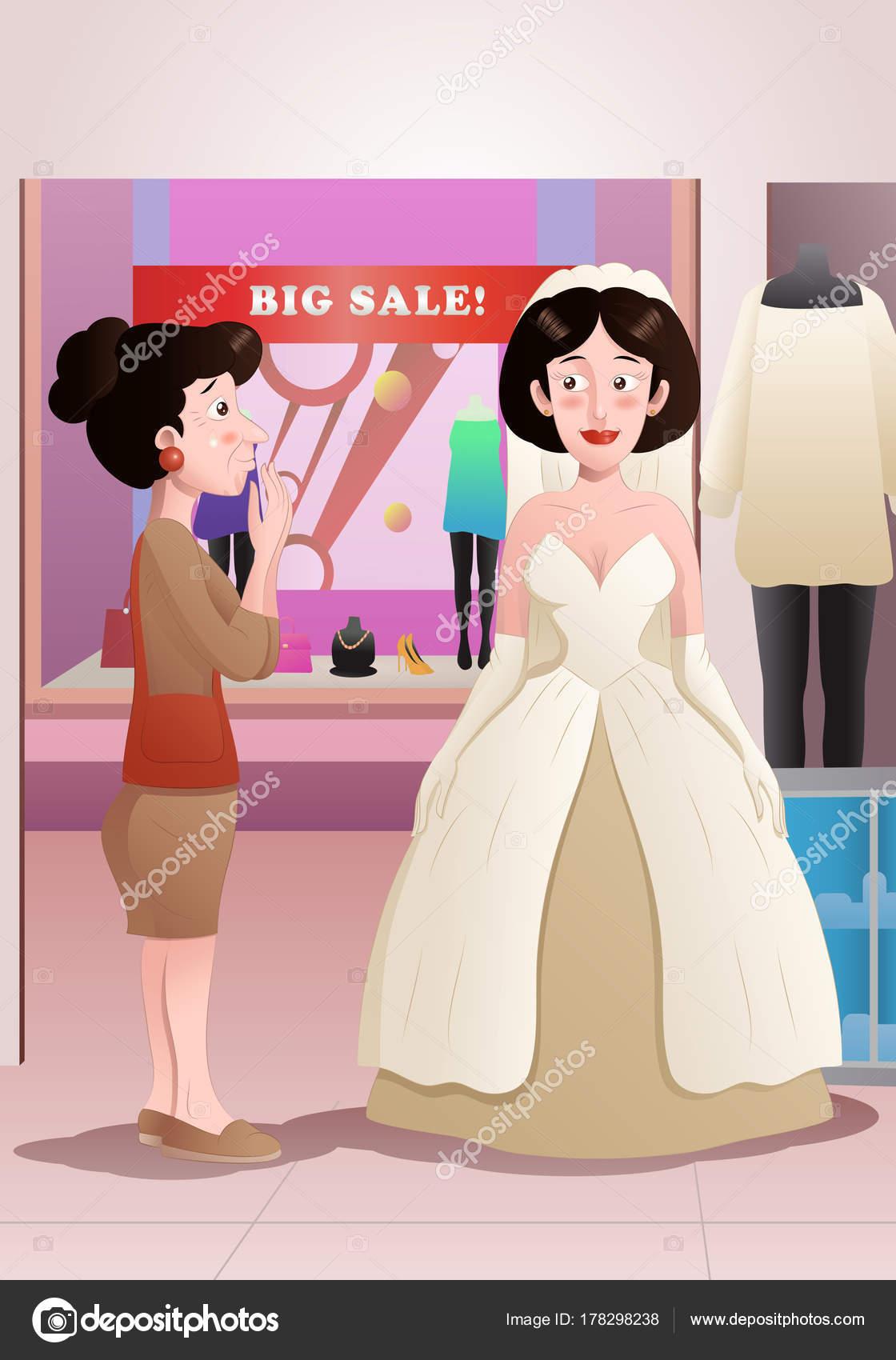 mujer prueba el vestido de novia — Foto de stock © onionime #178298238