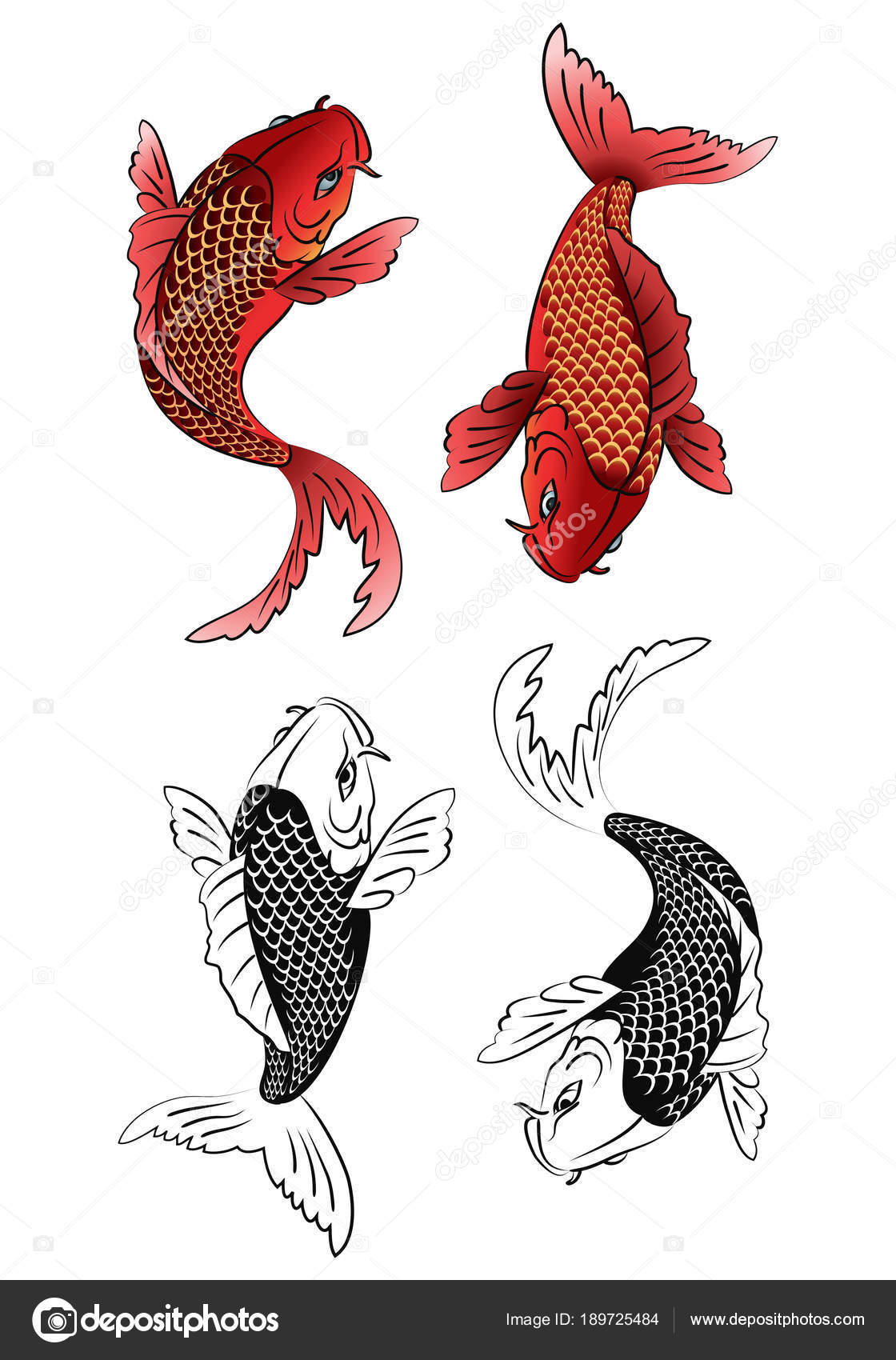 two koi fish tattoo — Stock Photo © onionime #189725484