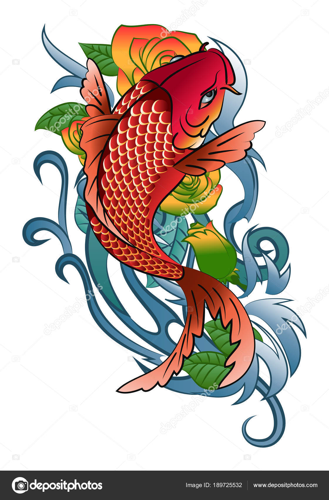 koi fish jump tattoo — Stock Photo © onionime #189725532