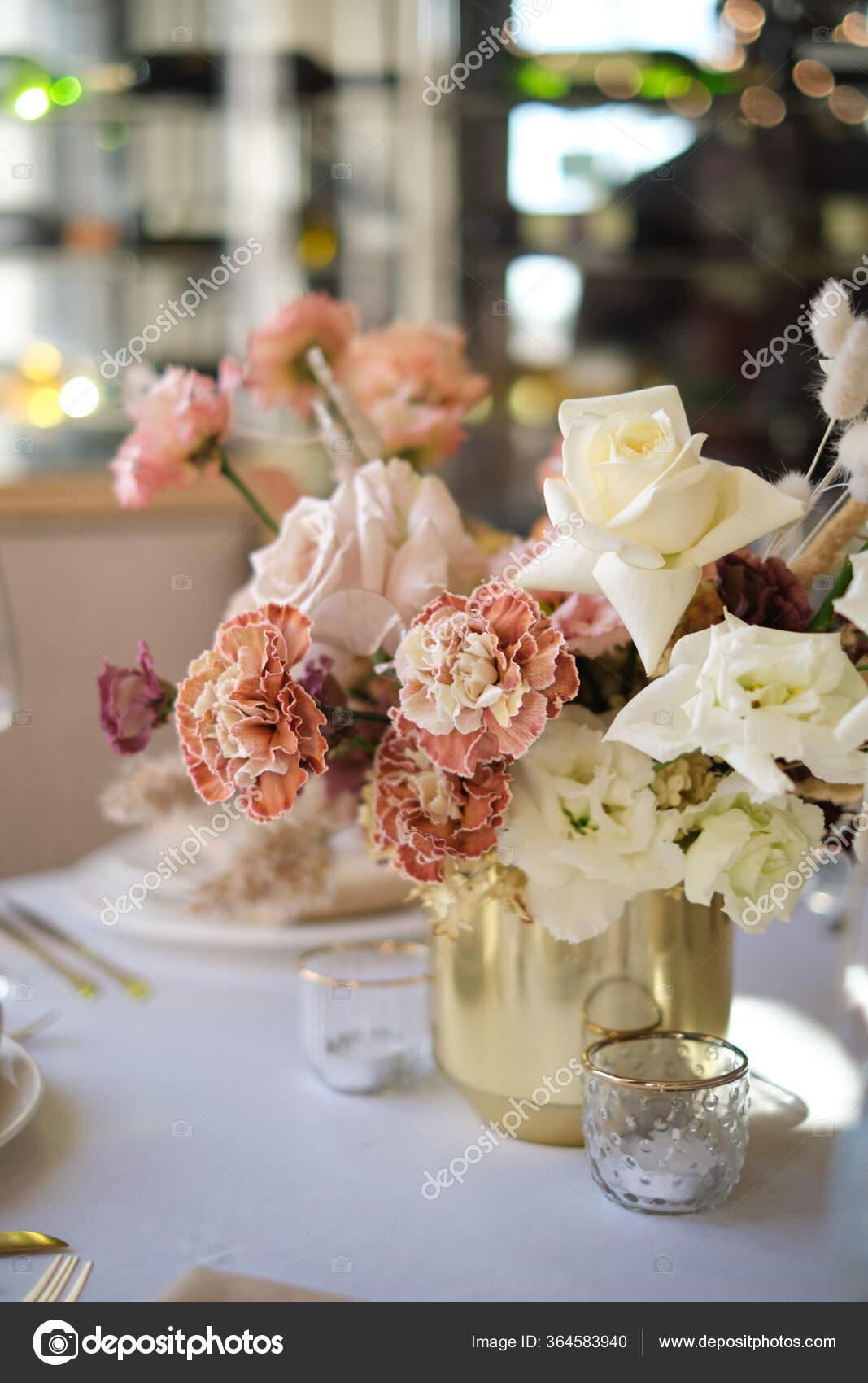 Luxury Cozy Autumn Wedding Table Decoration Restaurant Fresh Dried Flowers Stock Photo Image By C Pavelborn 364583940